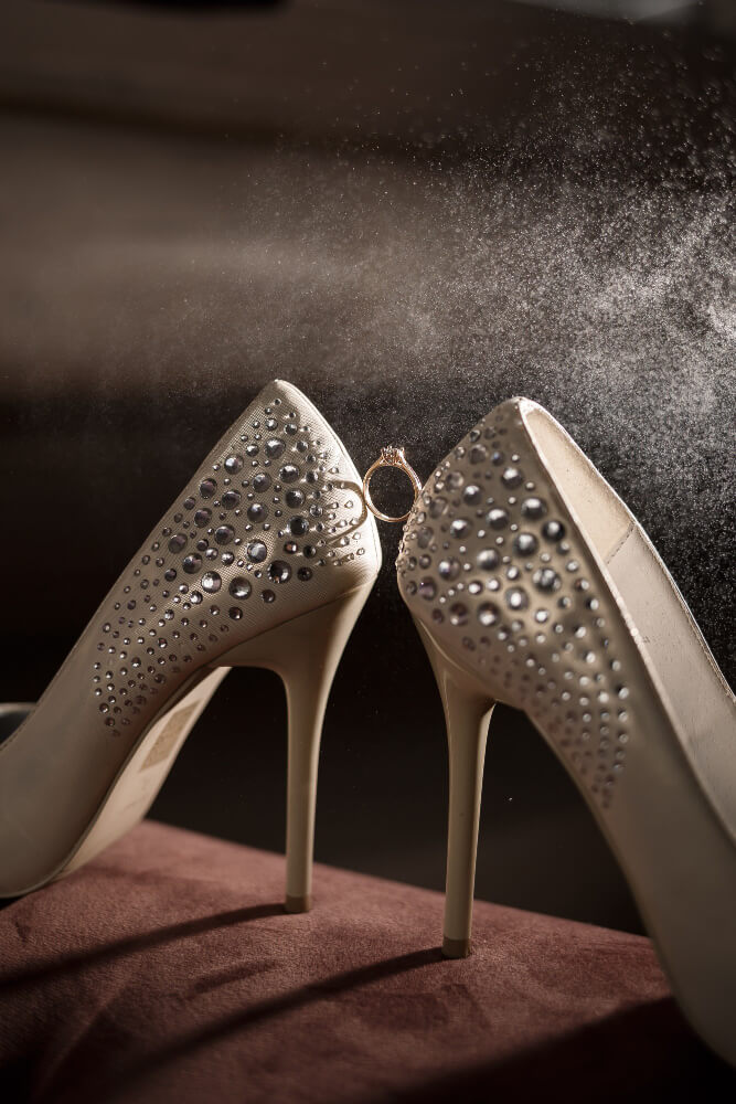 bride s engagement ring wedding day with beautiful holiday shoes